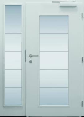 Haustür modern, TOPICcore, weiß, Obertürschließer, Innenansicht Sicherheitstür, passivhaustauglich, besser als Alu, Glas, Seitenteil, Glasmotiv