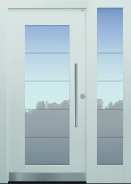 Haustür weiß mit Glasmotiv MS4 mit Seitenteil T Modell B34-T