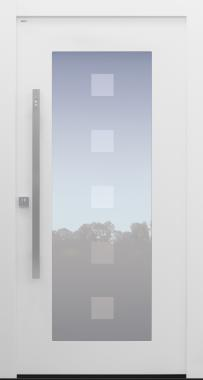 Haustür modern, weiß TOPICcore, Fingerprint, Sicherheitstür, besser als Alu, Glas, Glasmotiv