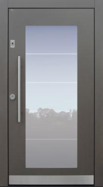 Haustür modern, grau, TOPICcore, Fingerprint, Klarglaslinien, Sicherheitstür, passivhaustauglich, besser als Alu, Glas