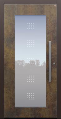 Haustür Exterior Patina Bronze mit Glasmotiv MTS1 mit Option Rosette flächenbündig Modell B34-T1