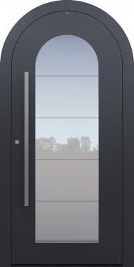 Haustür anthrazit mit Rundbogen mit Verglasung MS4 Modell B34-T1