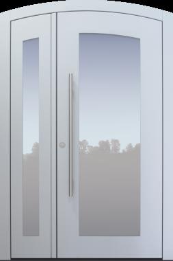 Haustür modern, weiß, TOPICcore, zweiflügelig, Segmentbogen, Sicherheitstür, passivhaustauglich, besser als Alu, Glas