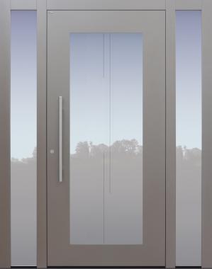 Haustür grau mit Perllackierung auf Kundenwunsch mit Glasmotiv MS7 mit 2 Seitenteilen B1 Modell B34-T2
