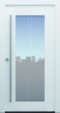 Haustür modern, TOPICcore, weiß, Sicherheitstür, passivhaustauglich, besser als Alu, Glasmotiv