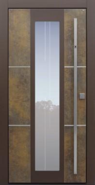 Haustür modern, Exterior, Patina Bronze, Sicherheitstür, passivhaustauglich, besser als Alu, Glas, Glasmotiv