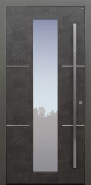 Haustür Exterior Prado Agate Grey mit Edelstahllisenen auf Kundenwunsch mit Option Designpaket mit Fingerprint Modell B35-T1