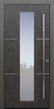 Haustür modern, TOPICcore, grau, Exterior, Sicherheitstür, passivhaustauglich, besser als Alu, Glas, Fingerprint