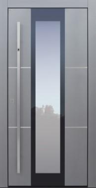 Haustür modern, grau, silber, TOPICcore, Fingerprint, Edelstahllisenen, Sicherheitstür, passivhaustauglich, besser als Alu, Glas