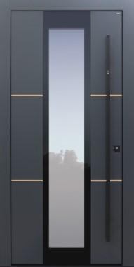 Haustür modern, anthrazit, Dunkelgrau, Lisenen Bronze, Sicherheitstür, passivhaustauglich, besser als Alu, Glas, Fingerprint