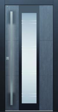 Haustür modern, dunkelgrau, Keramik, LED, Sicherheitstür, passivhaustauglich, Glas, Lichtausschnitt
