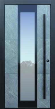 Haustür modern, grau, Stein,  Himalayastein, Topiccore, Sicherheitstür, passivhaustauglich, besser als alu, Glas