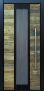 Haustür modern, Altholz, anthrazit, Sicherheitstür, passivhaustauglich, besser als alu, Glas