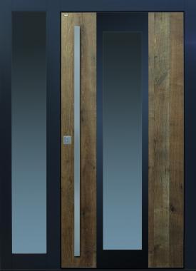 Haustür modern anthrazit, Holz, Altholz, Eiche, mit Seitenteil, über 300 Jahre, Sicherheitstür, passivhaustauglich, TOPICcore, besser als alu, Edelstahl, Glas, Parsol grau