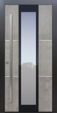 Haustür modern, Grau, Beton, Echtbeton, Sicherheitstür, passivhaustauglich, besser als alu, Glas