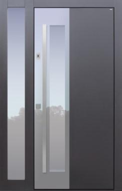 Haustür modern, anthrazit, TOPICcore, Fingerprint, Seitenteil, Sicherheitstür, passivhaustauglich, besser als Alu, Glas