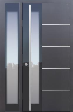 Haustür modern, grau, Topiccore, Edelstahl, Seitenteil, Sicherheitstür, passivhaustauglich, besser als alu, Glas