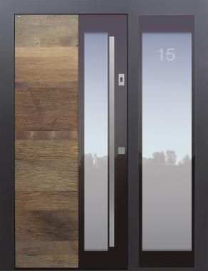 Haustür modern, Holz, Altholz, Eiche, TOPICcore, Seitenteil, Türnummer sandgestrahlt, Sicherheitstür, passivhaustauglich, besser als Alu, Glas