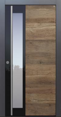 Haustür modern, anthrazit, Holz, Altholz, Eiche, über 300 Jahre, Sicherheitstür, passivhaustauglich, TOPICcore, besser als Alu, Edelstahl, Glas