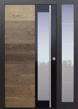 Haustür modern, Altholz, Eiche, Holz, über 300 Jahre, anthrazit, mit Seitenteil, TOPICcore, Sicherheitstür, passivhaustauglich, besser als alu, Glas