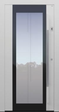 Haustür weiß mit Glasmotiv MS7 mit Stoßgriff auf Kundenwunsch mit Fingerprint Modell B54-T2