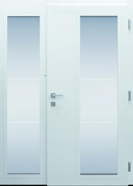 Haustür modern, weiß, Innenansicht, TOPICcore, Seitenteil, Klarglaslinien, Sicherheitstür, passivhaustauglich, besser als Alu, Glas