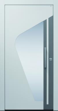 Haustür modern, weiß, grau, TOPICcore, Sicherheitstür, passivhaustauglich, besser als alu, Glas