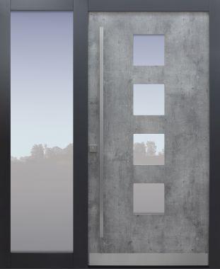 Haustür modern, Exterior, grau, passivhaustauglich, besser als Alu, Seitenteil, Glas