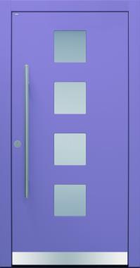Haustür modern, lila, TOPICcore, Edelstahl, Sicherheitstür, passivhaustauglich, besser als alu, Glas