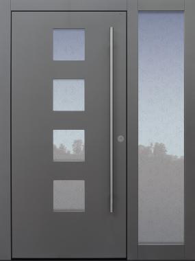 Haustür grau mit Option Rosette flächenbündig mit Stoßgrifflänge auf Kundenwunsch mit Seitenteil B1 Modell B60-T1