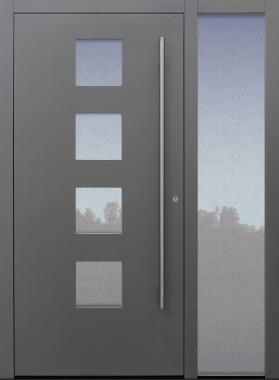 Haustür grau mit Glas Uadi weiß mit Stoßgrifflänge auf Kundenwunsch mit Option Designpaket mit Seitenteil B1 Modell B60-T1
