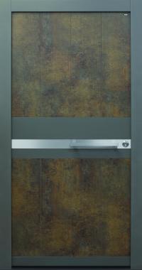 Haustür modern, anthrazit, Exterior Patina Bronze, Sicherheitstür, besser als alu