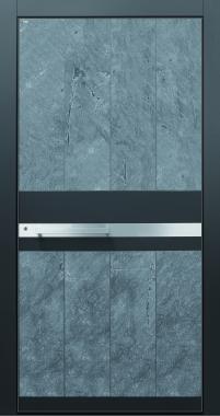 Haustür modern anthrazit Echtstein, Stein, Himalayastein, Edelstahl, Sicherheitstür passivhaustauglich TOPICcore besser als alu Glas