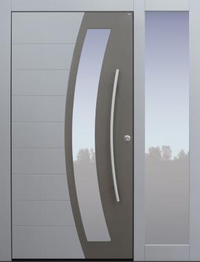 Haustür, modern, grau, TOPICcore, Seitenteil, Sicherheitstür, passivhaustauglich, besser als Alu, Glas