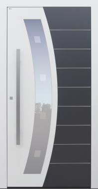 Haustür weiß mit Glasmotiv MS9 mit Option 2. Farbe Modell B62-T2