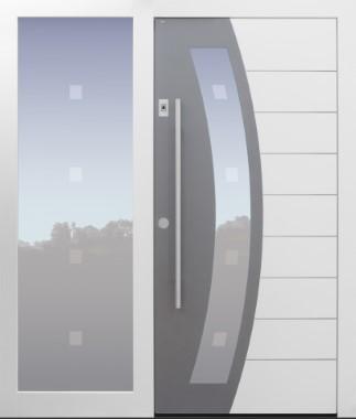 Haustür modern, weiß, Topiccore, Seitenteil, Sicherheitstür, passivhaustauglich, besser als alu, Glas