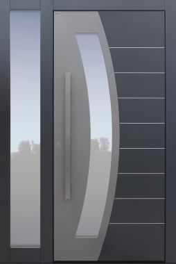 Haustür modern, TOPICcore, RAL, Dunkelgrau, Anthrazit, Sicherheitstür, passivhaustauglich, besser als Alu, Glas, Seitenteil, Edelstahllisenen