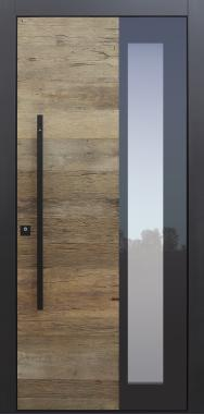 Haustür modern, TOPICcore, Altholz Eiche, Stoßgriff schwarz, Eiche, Sicherheitstür, passivhaustauglich, besser als Alu, Glas