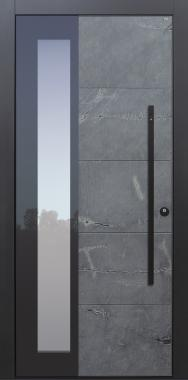 Haustür modern, Stein, Himalayastein, Stoßgriff schwarz, Fingerprint, Sicherheitstür, passivhaustauglich, besser als Alu, Glas