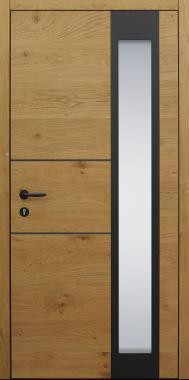 Haustür braun Innenansicht mit 2 Lisenen in schwarz poliert mit Touch-Tagesfunktion Modell B63-T3