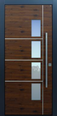Haustüren modern, braun, Fingerprint, Edelstahllisenen, TOPICcore, Holz, Edelstahl, Sicherheitstür, passivhaustauglich, besser als Alu, Glas