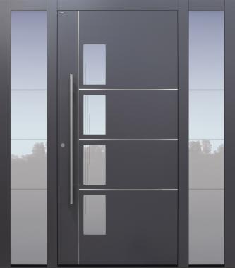 Haustür anthrazit mit Sondersandstrahlung mit Glasmotiv MS4 mit 2 Seitenteilen B1 Modell B65-T2