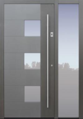 Haustür grau mit Optionen 2. Farbe und Designpaket mit Fingerprint mit Seitenteil B1 Modell B66-T1