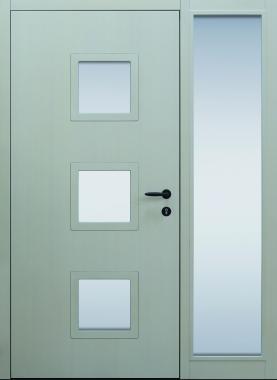 Haustür modern, Holz, Fichte, Seitenteil, Sicherheitstür, passivhaustauglich, besser als alu, Glas