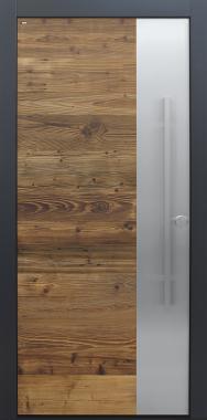 Haustür modern, Altholz, Fichte, Holz, über 300 Jahre, anthrazit, TOPICcore, Edelstahl, Sicherheitstür, besser als Alu