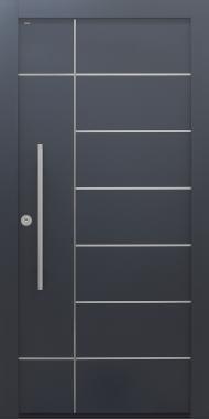 Haustür anthrazit mit Edelstahllisenen statt Spurfräsungen mit Design B908 Modell B9-T