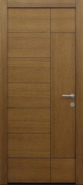 Haustür Eiche mit Design B908 mit Spurfräsungen und Furnierbild auf Kundenwunsch Modell B9-T