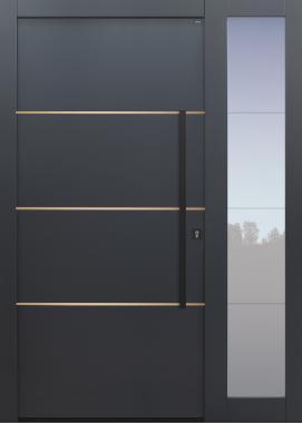 Haustür anthrazit mit Option 3 Lisenen in bronze poliert mit Stoßgriff und Rosette schwarz mit Glasmotiv MS4 mit Seitenteil T Modell B9-T