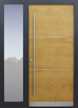 Haustür modern, Holz, Eiche, astig, Edelstahl, Seitenteil, Sicherheitstür, besser als Alu, Glas