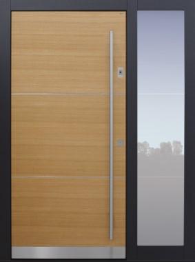 Haustür modern, Holz, Eiche, TOPICcore, Seitenteil, Sicherheitstür, passivhaustauglich, besser als Alu, Glas